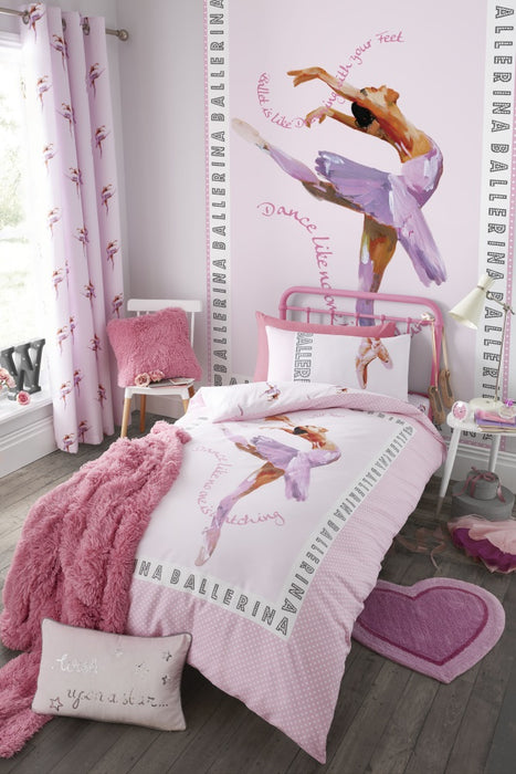 Kids Bedroom Accessories, Catherine Lansfield, Catherine Lansfield Kids Ballerina Pink Eyelet Curtains - 66x72 Inches (168x183cm) - from thebeddingbox.co.uk