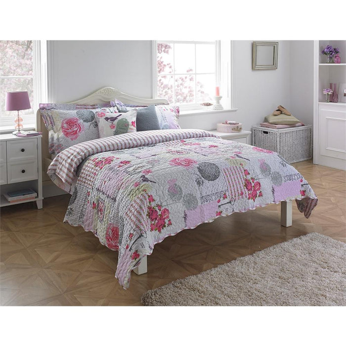 Bedspreads, Riva Home, Riva Home Eden Pink Bedspread - 240x260cm - from thebeddingbox.co.uk