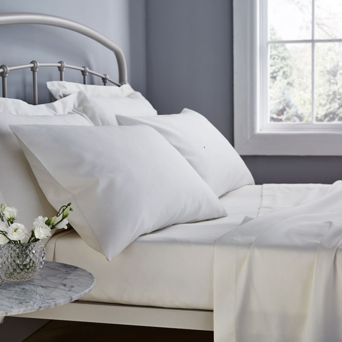 Flat Sheet, The Bedding Box, Catherine Lansfield 500 Thread Count Cream Flat Sheet - Single - from thebeddingbox.co.uk