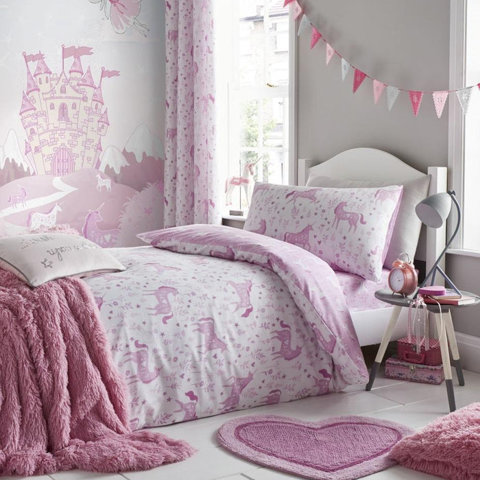 Kids Duvet Cover, Catherine Lansfield, Catherine Lansfield Kids Folk Unicorn Pink Duvet Cover Set - from thebeddingbox.co.uk
