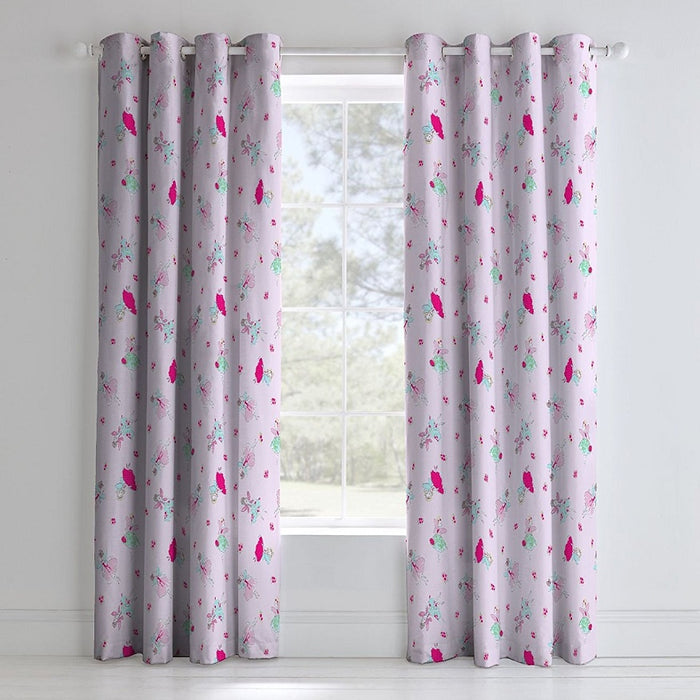 Curtains, Catherine Lansfield, Catherine Lansfield Fairies Easy Care Eyelet Curtains Sheet Pink, 66x72 Inch - from thebeddingbox.co.uk