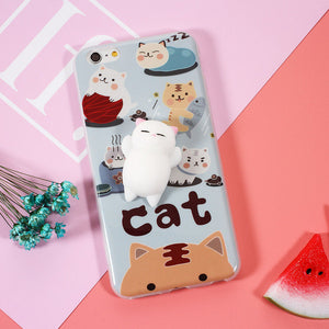 "Coque Iphone / Samsung Chat Moelleux ""Squishy"" Blanc"