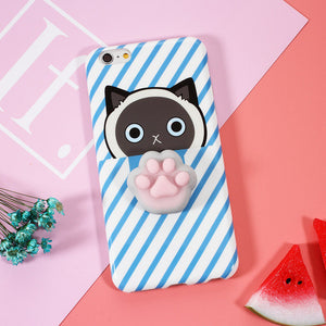 "Coque Iphone Patte de Chat ""Squishy"" Bleue"