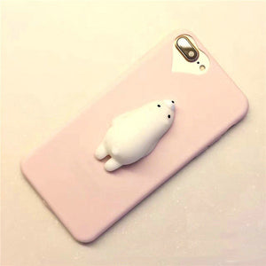 "Coque Iphone Ours Moelleux ""Squishy"" Blanc (Rose ou Bleu)"