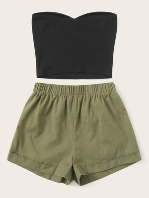 Solid Tube Top & Belted Shorts Set