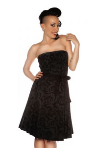 Folter Clothing Black Rose Strapless Dress