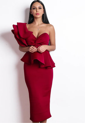 Red Avante Garde Cocktail Dress