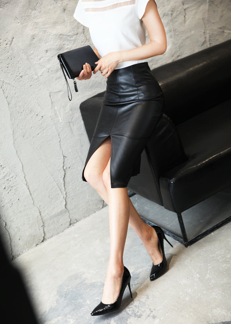 Women's PU Leather Midi Skirt