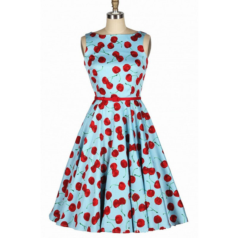 Vintage Inspired Cherry Sleeveless Swing Dress