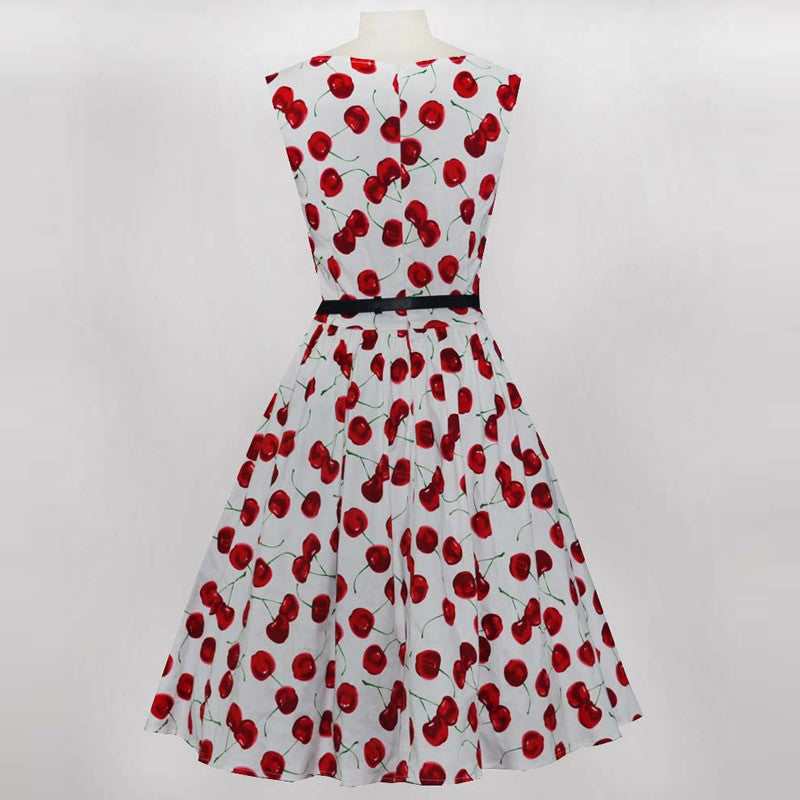 Vintage Inspired Cherry White Belted Swing Dress