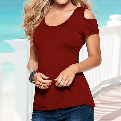 red off-shoulder retro lace shirt