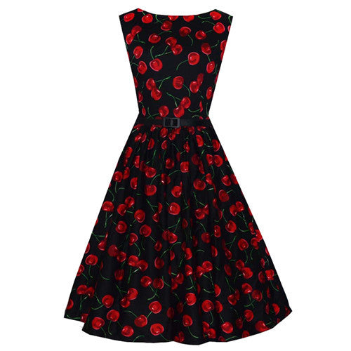 Vintage Inspired Cherry Black Belted Swing Dress