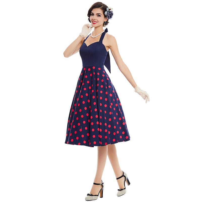 Rockabilly Blue Halter with Red Polka Dot Swing Dress