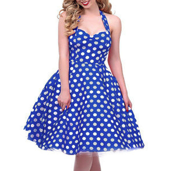 Vintage Style Blue & White Polka Dot Halter Swing Dress