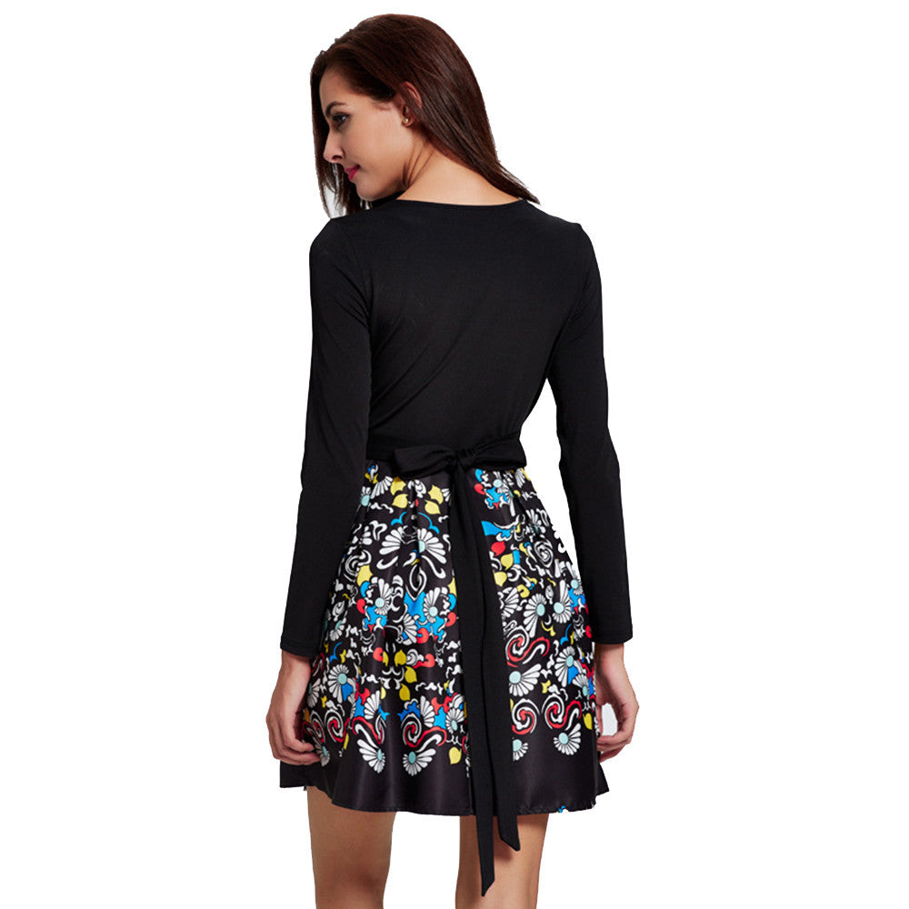 Long Sleeve Retro Print Style Party Dress