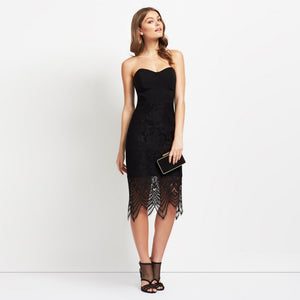 Vintage Style Black Lace Sleeveless Midi Dress