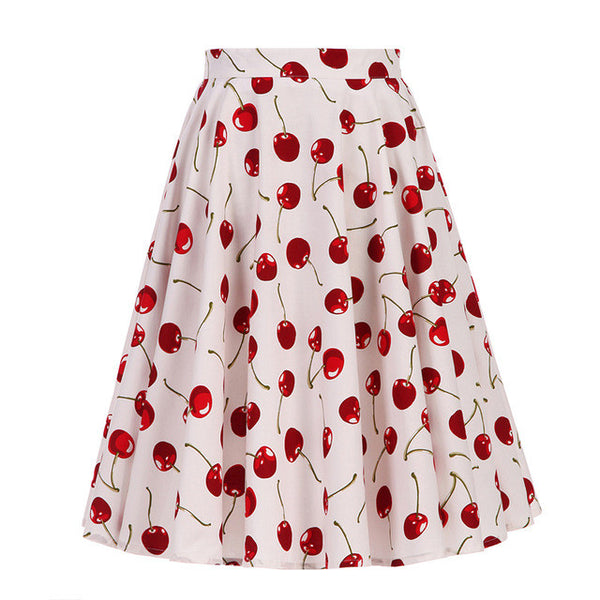 White Cherry Print Swing Skirt