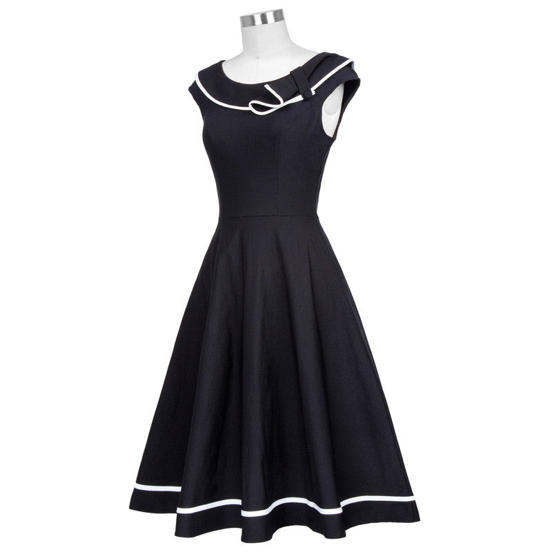 Nautical Sailor Style Black Dress