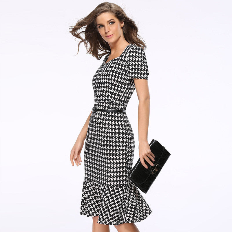 Vintage Houndstooth Fitted Mermaid Dress