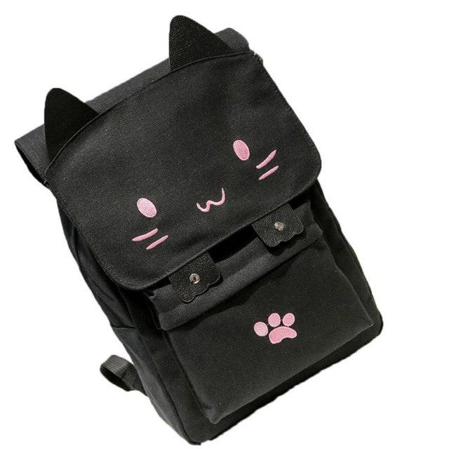 Cute Cat Canvas Cartoon Backpack