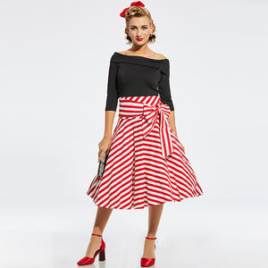 Retro Rockabilly Black and Red & White Striped Sashed Swing Dress