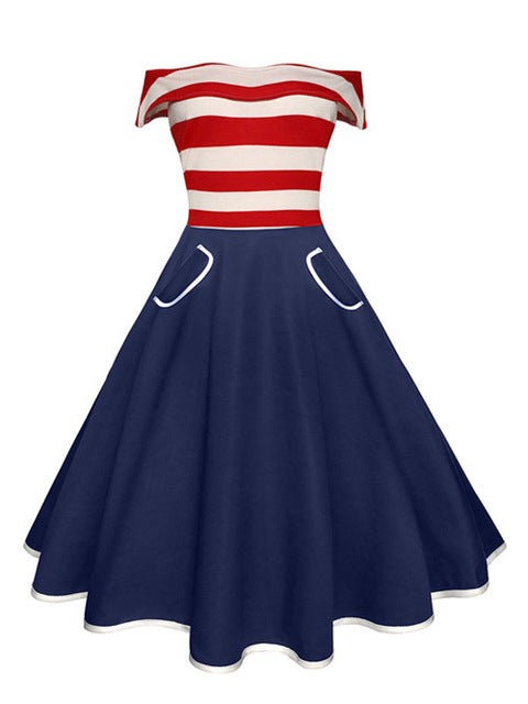 Retro Sailor Swing Dress