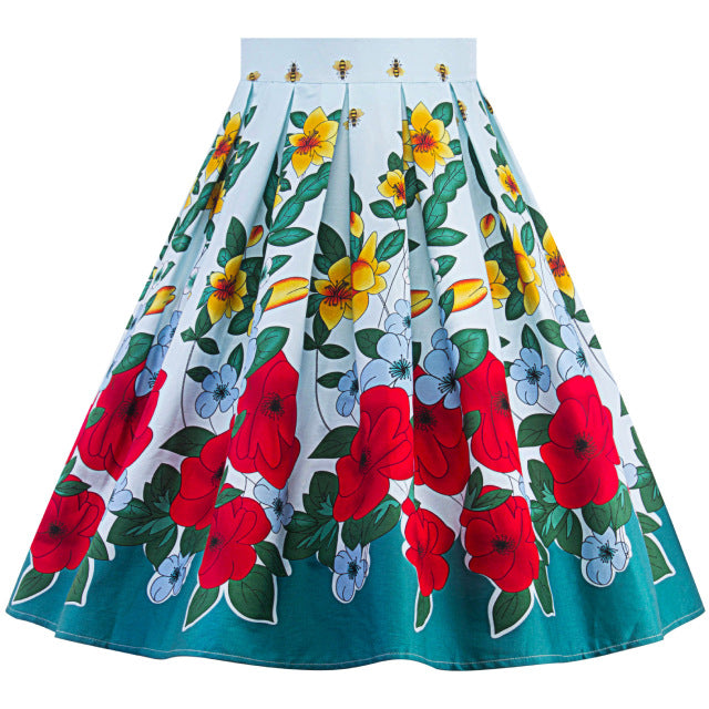 High Waist Retro Red & Yellow Floral Swing Skirt