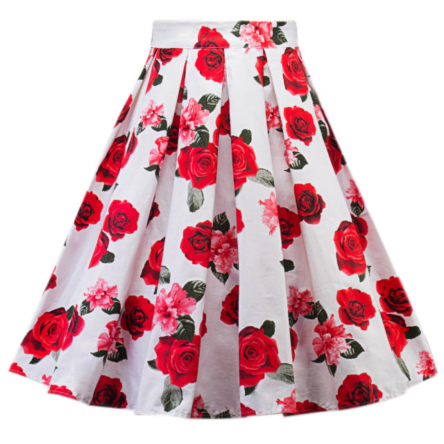 High Waist Retro Red Rose Floral Swing Skirt