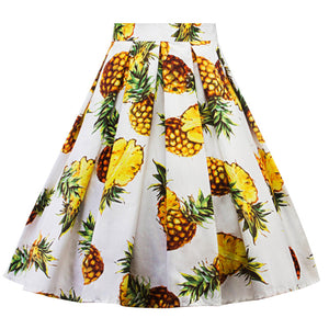 High Waist Retro Pineapple  Swing Skirt