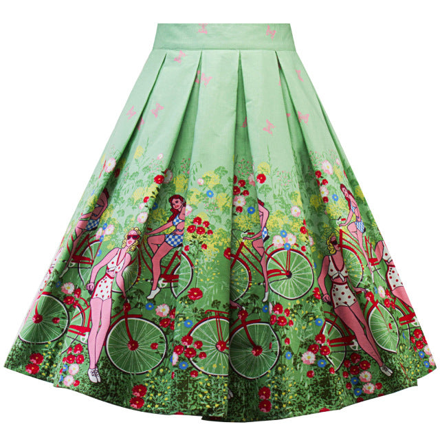 High Waist Retro Enchanted Bicycle Floral Swing Skirt