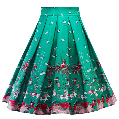 High Waist Retro Green Play Swing Skirt
