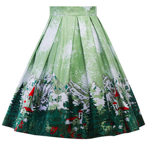 High Waist Retro Green Mountain Swing Skirt