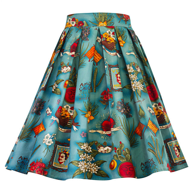 High Waist Retro Mix Swing Skirt