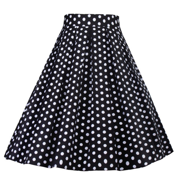 High Waist Retro Black and White Polka Dot Swing Skirt