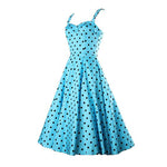 Vintage 1950s Blue & Black Polka Dot Swing Dress