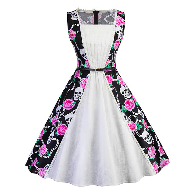 1950's Black & Pink Skull Rockabilly Dress