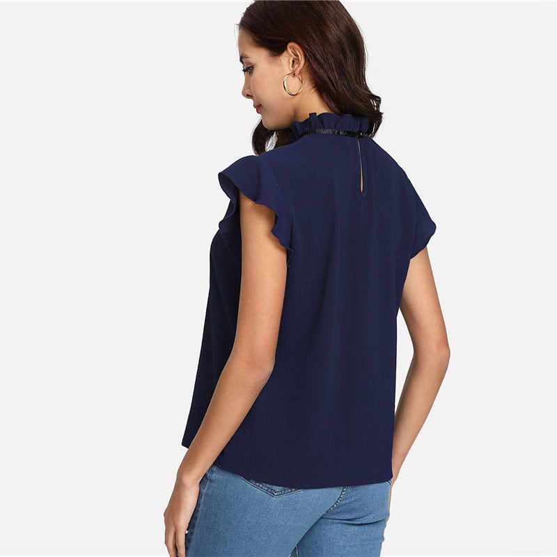 Navy Blue Bow Tied Button Back Blouse
