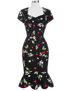 Vintage style black cherry mermaid dress