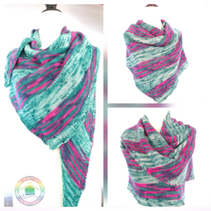 2 Skein Asymmetrical Shawl/Scarf - Recipe/Pattern With Hand Dyed Dk Yarn