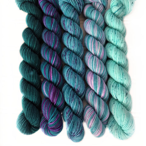 Teal Greens and Purples Mini Skein Set of 5 OOAK