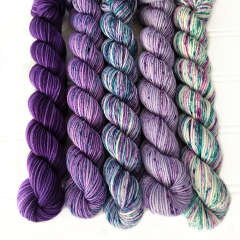 Purples with Teal Greens  Mini Skein Set of 5 OOAK