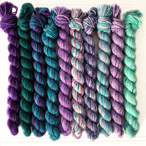 Purples and Teal Greens  Micro Mini Skein Set of 10    OOAK