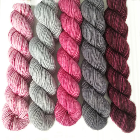 Burgundy, Pinks and Gray Mini Skein Set of 5 OOAK
