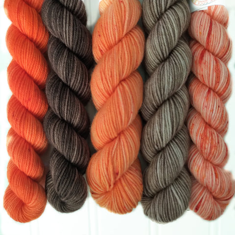 Browns and Oranges Mini Skein Set of 5 OOAK