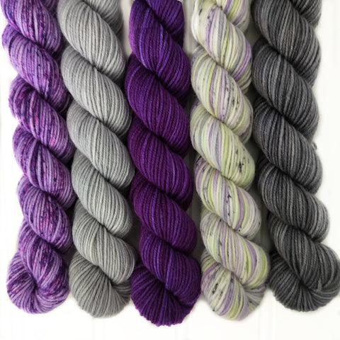 Purples and Grays Mini Skein Set of 5 OOAK