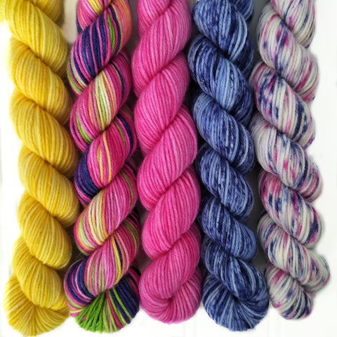 Multi coulurs Mini Skein Set of 5 OOAK