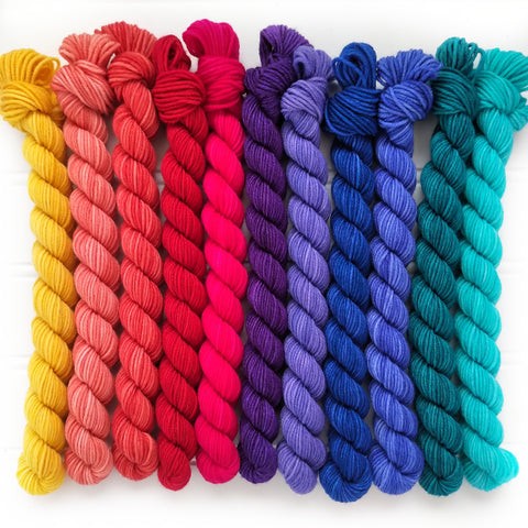 Trip around the color wheel  Micro Mini Skein Set of 10    OOAK