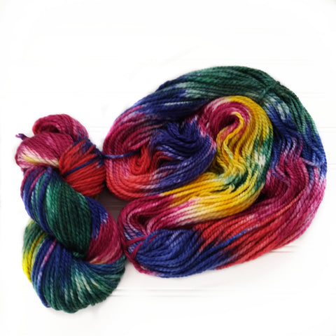 Cozy Chunky hand dyed Yarn - Hot Crayons