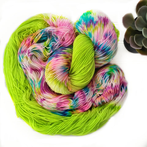 Bright Green Rainbow Dapples- Squishy Sock