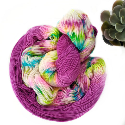 Bright Purple Rainbow Dapples - Squishy Sock